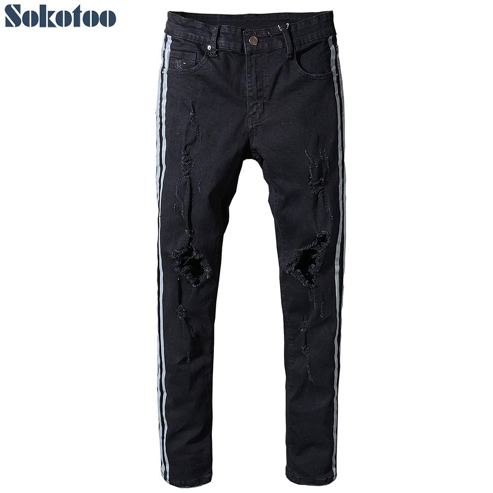 Sokotoo Men's Slim Fit Stripe Patchwork Black Stretch Denim Ripped Jeans Fashion Plus Size Distressed Skinny Pants