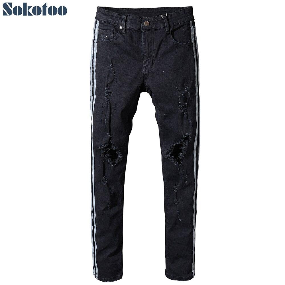 Sokotoo Mens slim fit stripe patchwork black stretch denim ripped jeans Fashion plus size distressed skinny pants
