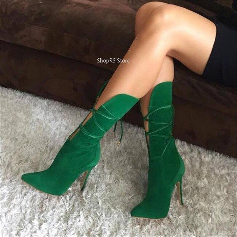 Design Vert Pic Stilettos mollet Talons Femmes En Hauts attaché Nouveau Croix Chaussures Découpes Mi As Pointu Bout Daim Bottes Gladiateur 4qEndwx