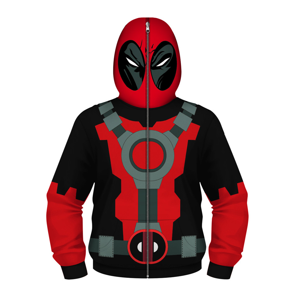 Children Cartoon Anime Deadpool Cosplay Coat Superhero Hooded Zipper Design Boy/Girl Hip Hop Hoodies Kids 3D Sweatshirts Clothes цены