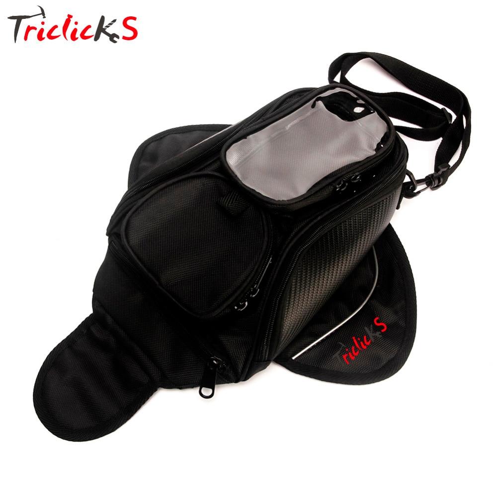 Triclick Oil Fuel Tank Bags Magnetic Motorcycle Bag Motorbike Oil Fuel Tank Bag Saddle Bag W/Bigger Window Moto Accessory Black