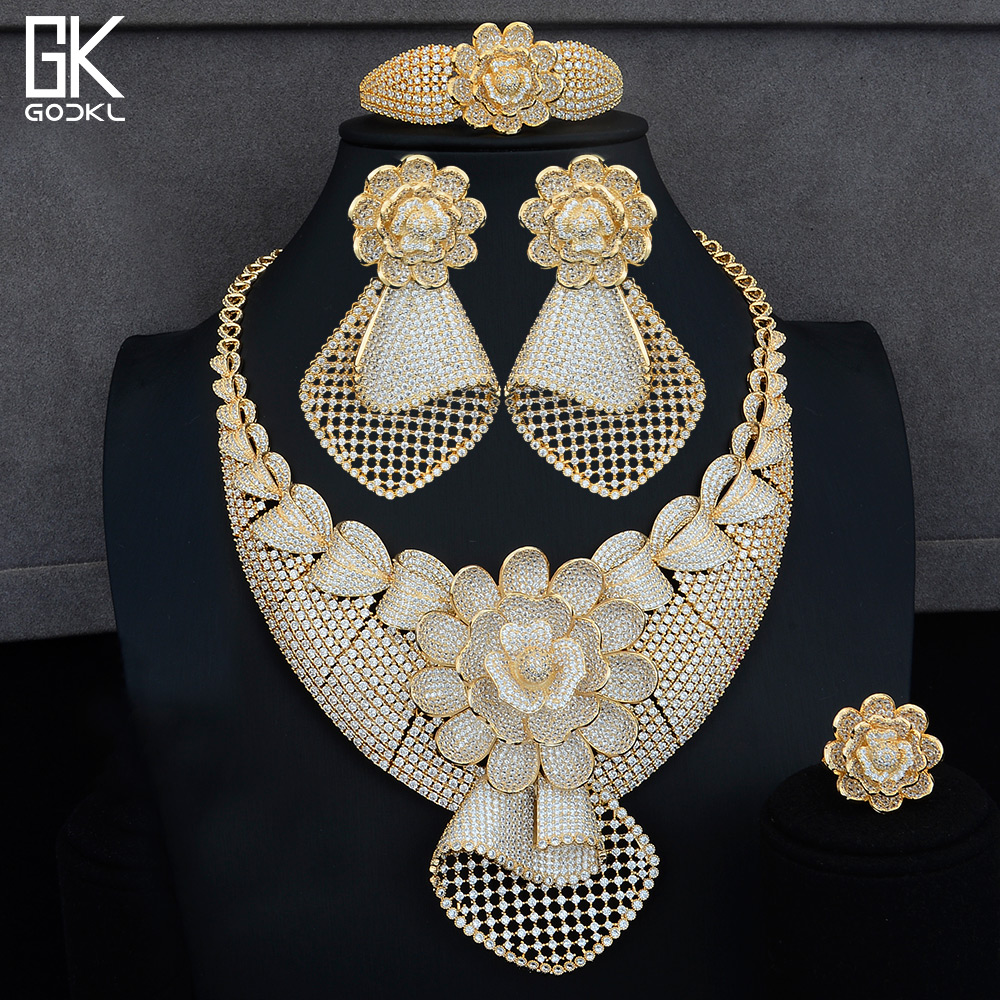 GODKI Luxury Flowers 4PCS African Lariat Jewelry Sets For Women Wedding Cubic Zircon Crystal CZ Indian