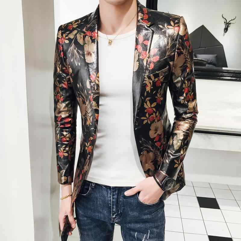 2019 Autumn Slim Fit Party Blazers Masculino High Quality Floral Blazers Mens Baroque Veste Costume Homme Americana Hombre M-5XL