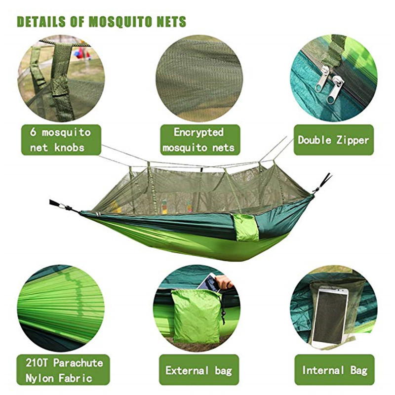 Sleeping Bags Outdoor Camping Hammock With Mosquito Net Tree Ropes Carabiners For Travel Hiking Beach Backyard Backpacking Sleeping Bag Bed Camping & Hiking