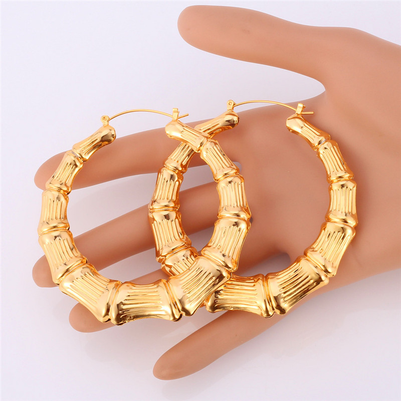 Fashion Big Bamboo Earrings Yellow Gold Color For Women Chic
