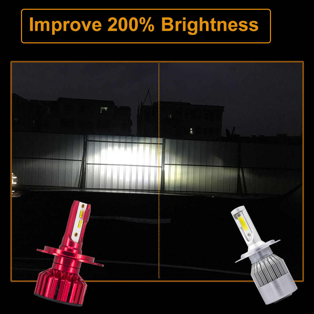 CZPVQ 2 Pcs Car Headlight LED H4 H7 H1 4300K 5000K 6500K 8000K H8 H9 H11 H3 9005 9006 880 LED Bulb Auto Fog Light 12000LM 12V