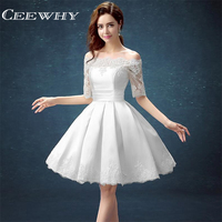 5 Colors Jersey Half Sleeve Ball Gown Embroidery Lace Special Occasion Women Evening Party Knee Length