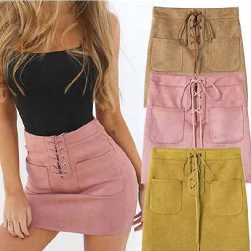 Женская однотонная повседневная юбка с высокой талией из искусственной кожи с двойным карманом на вечерние ремне