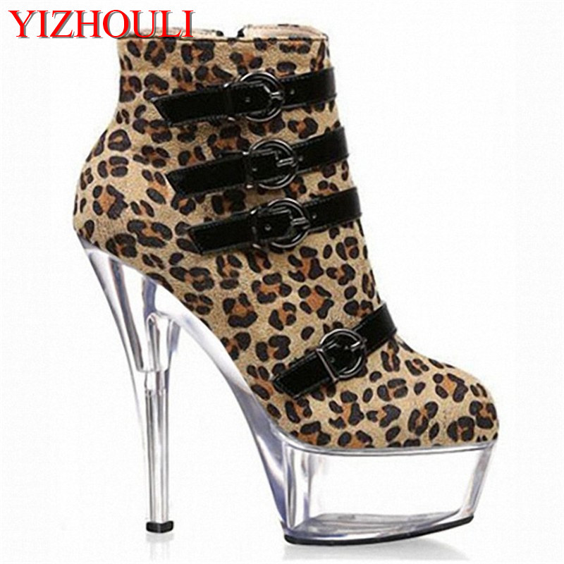 Leopard-print shoes, super-high heels with 15cm, high heels and low barrel boots, handsome belt buckles, and dancing shoes 15cm club shoes big star with steel tube dancing shoes 34 and 46 yards high with the lacquer that bake single crystal shoes