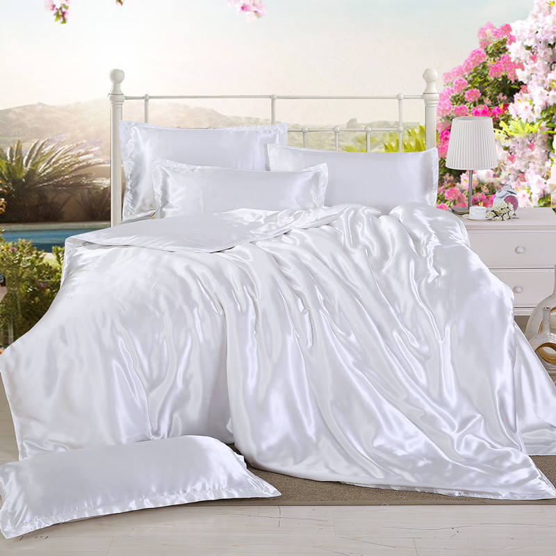 1Pcs Duvet Cover 200*200/220*240cm Twin Full Queen King Size Solid Color Satin Silk Quilt Cover Advanced Home Hotel Bedding