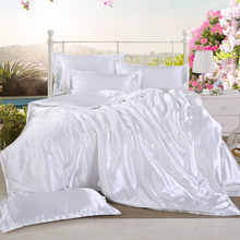 1Pcs Duvet cover 200*200/220*240cm Twin Full Queen King Size Solid color Satin Silk Quilt cover Advanced Home Hotel Bedding(China)