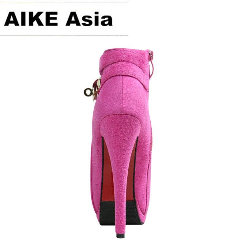 2017 Impermeables Tacones Zip Sexy Moda Zapatos La rosado Las De Bombas Mujeres Botas Gladiador Señoras Boda Plataforma Altos Negro rnawZqYrp