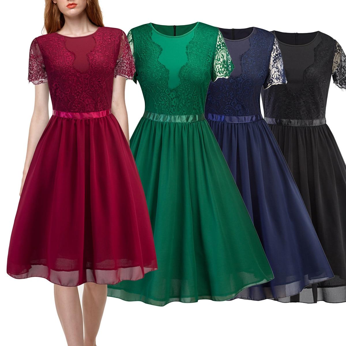 a653864d7f41 Однотонные коктейльные платья 2019 с короткими рукавами и круглым вырезом  из ...