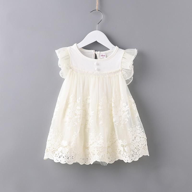 Baby Girl Dress White Toddler Girl Dress Flutter Sleeve Lace Overlay Princess Frock Brand Baby Clothes B014 Vestidos Infantil flutter sleeve mesh overlay top