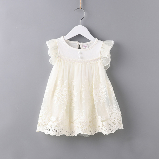 66d7b945537e Baby Girl Dress White Toddler Girl Dress Flutter Sleeve Lace Overlay  Princess Frock Brand Baby Clothes