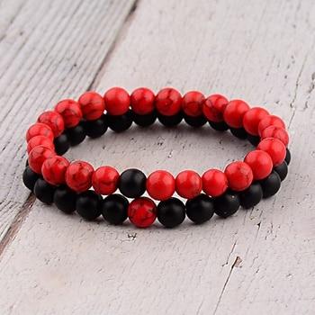 Chakra-bracelet-distance-bracelet-red-black