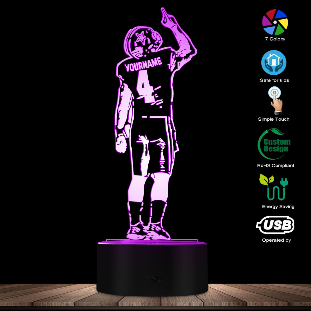American Football Player Creative 3D Optical Illusion Table Lamp Personalized Custom Name Rugby Player Sportman LED Night Lamp