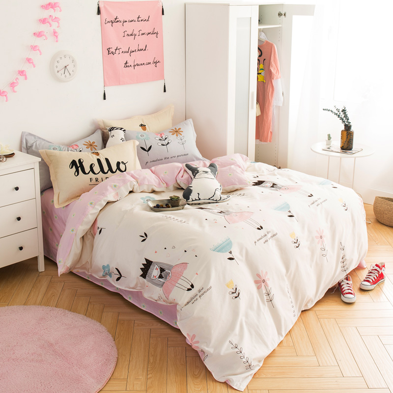 Lovely Princess Girl 4pcs kids bedding sets 78 7 x90 5 duvet cover flat sheet pillowcase
