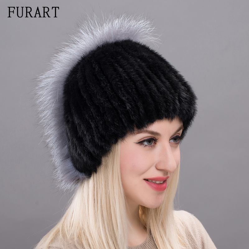 Real Mink Fur Hat With Fox Fur Women Natural Mink Fur Cap New Female Fur Caps Russia Winter Warm Skullies & Beanies Hat DXJ17-32 skullies beanies mink mink wool hat hat lady warm winter knight peaked cap cap peaked cap