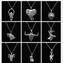 WKOUD handmade Animal Necklace Elephant Charm Tiger Wolf Bison Goat Poodle Dog Reindeer 1pcs