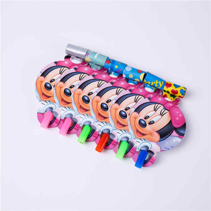 Minnie Mouse parti süslemeleri çocuklar için tek kullanımlık sofra seti kağıt peçeteler payet plaka bardak Minnie Mouse parti malzemeleri