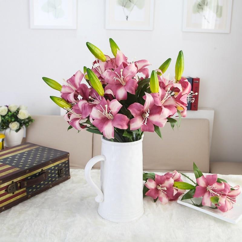 Hoja de Lirio de Flores de Seda de Flores artificiales Planta Simulación Fake De