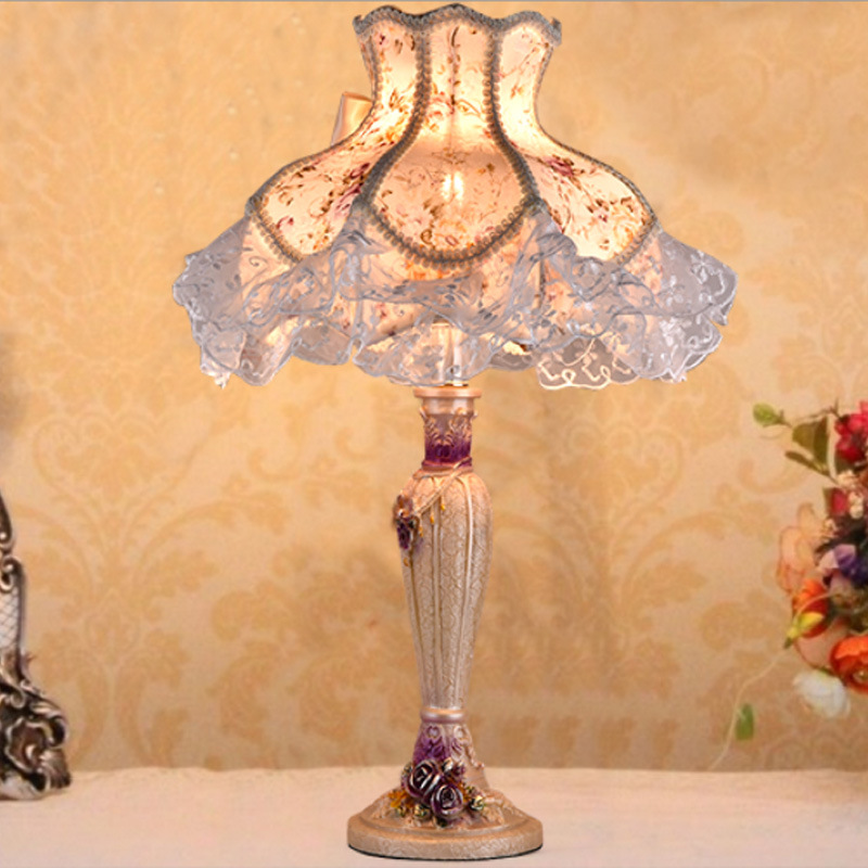 TUDA 40X51cm Free Shipping European Vintage Style Table Lamp pastoral Style Lace Lampshade Table Lamp For bedroom Bedside E27