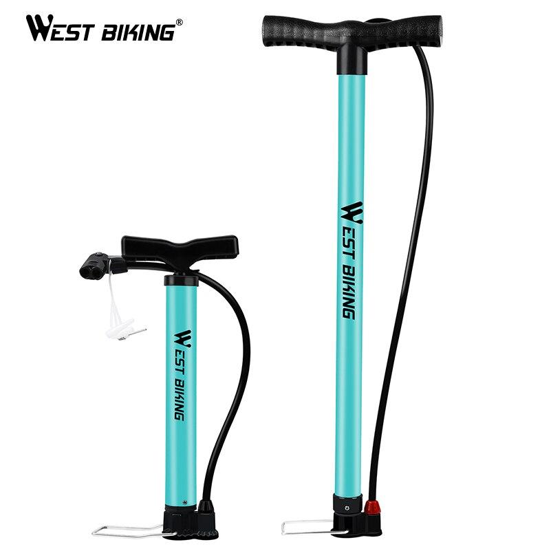 WEST BIKING Cycling Pump 120/160PSI High Pressure Schrader Presta Valve Air Foot Pump Steel Tire Inflator MTB Road Bike Pump