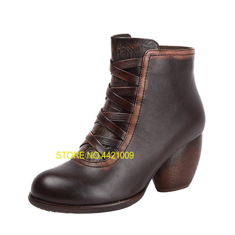 2018 Autumn and Winter New Products Retro Printed Boots High Heeled Boots Childrens Side Zipper Bold Leather Boots2018 Autumn and Winter New Products Retro Printed Boots High Heeled Boots Childrens Side Zipper Bold Leather Boots