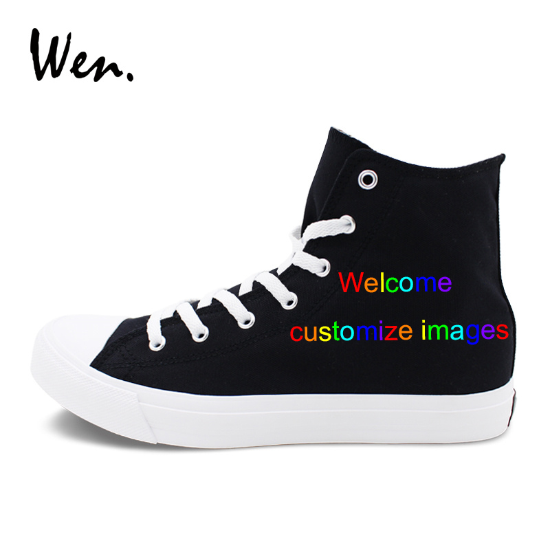8f3cf6d48f618f Wen Custom Black High Top Canvas Sneakers Hand Painted Shoes Welcome  Customize Images Accept Bargain According to Complexity-in Skateboarding  from Sports ...