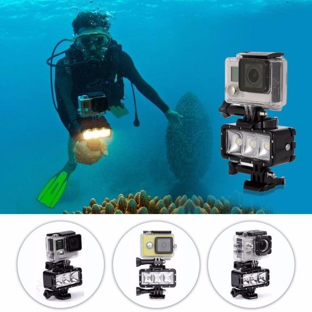 AKASO Waterproof LED Diving Light for Go pro Hero 5 3 4 h9 SJCAM SJ4000 Snorkel Light Underwater AKASO Camera Yi 4K Accessories