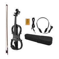 STARWAY 4/4 Basswood Electric Violin Brazil Wood Violin Fittings with Headphone Cable Rosin Carry Box White Black Violin Sets