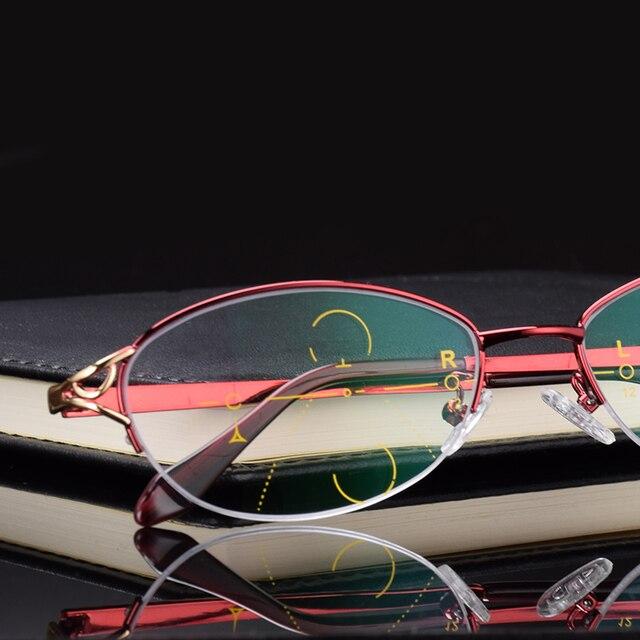 Lntelligence Progressive Multifocal Commercial Reading Glasses Bifocal Red Womens Prescription glasses full set Read 501