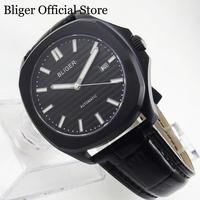 BLIGER אוטומטי גברים של שעון PVD שחור מקרה עם ספיר זכוכית תאריך 39mm עצמי מתפתל שעון