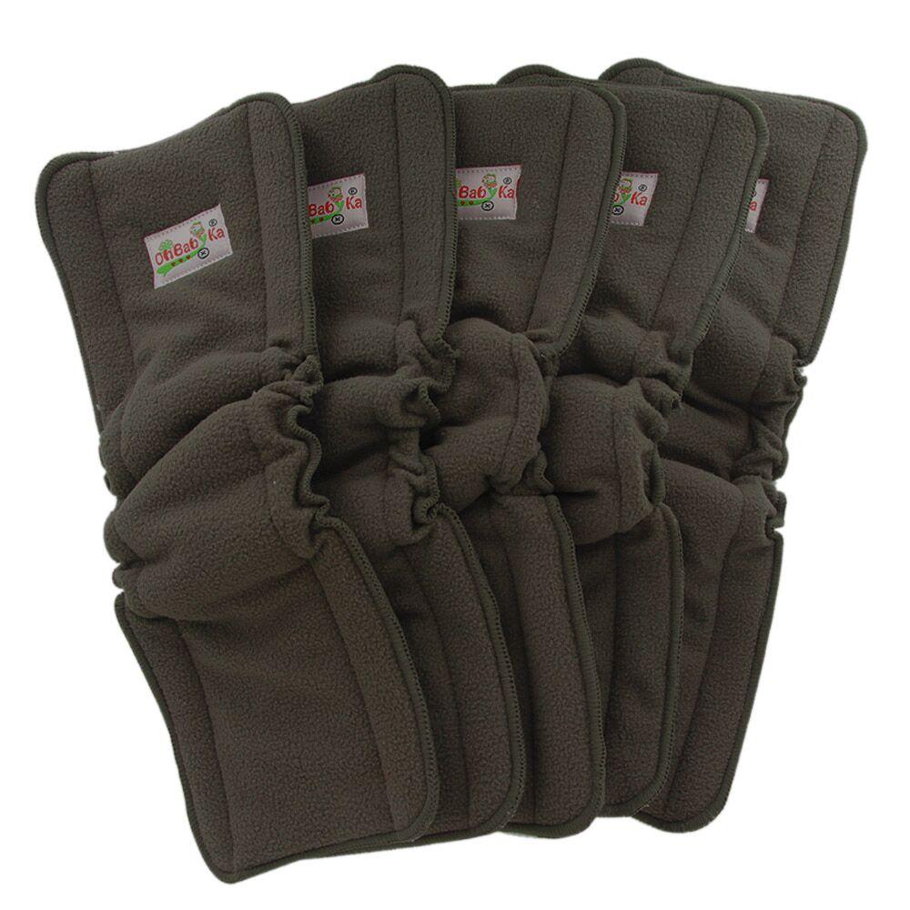 Детские тканевые подгузники Ohbabyka, многоразовые эластичные вставки из бамбукового угля, 5 шт.