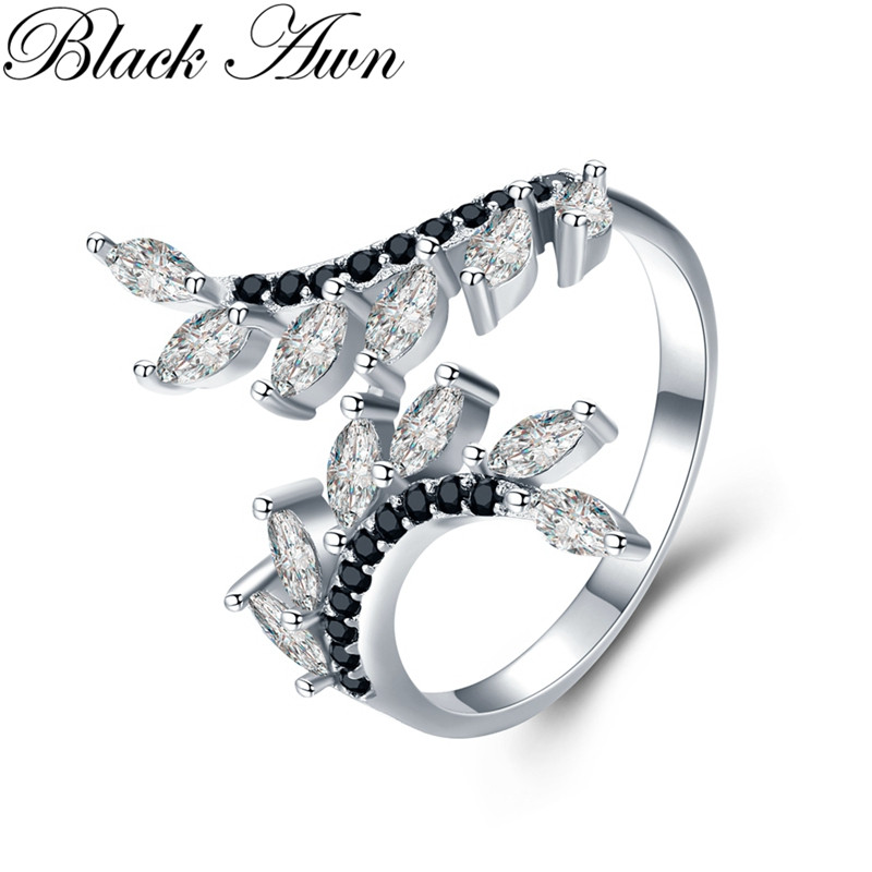 Hygerbole 2.7g 925 Sterling Silver Fine Jewelry Engagement Black Spinel  Engagement Open Rings For Women G029