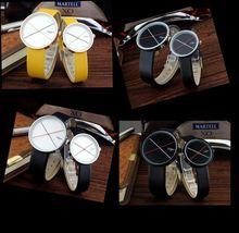Onlyou marca relojes mujeres de los hombres de moda casual de cuero genuino de cuarzo reloj de pulsera para muchachas de los muchachos de la escuela negro color amarillo 81012