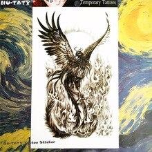 Nu-TATY Black Phoenix Temporary Tattoo Body Art, 12x20cm Flash Tattoo Stickers, Waterproof Fake Tatoo Henna Tatto Wall Sticker