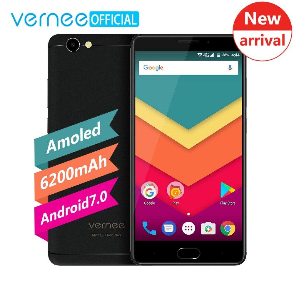 Vernee Тор плюс Octa core 3 ГБ + 32 ГБ 5.5 Super AMOLED смартфон 6200 мАч 9 В/ 2A Quick Charge 13MP Android 7.0 4 г мобильного телефона