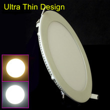 Free Shipping NEW Hot Ultra Thin Design 3W 4W 6W 9W 12W 15W 25W LED Surface Ceiling Recessed Grid Downlight / Round Panel Light