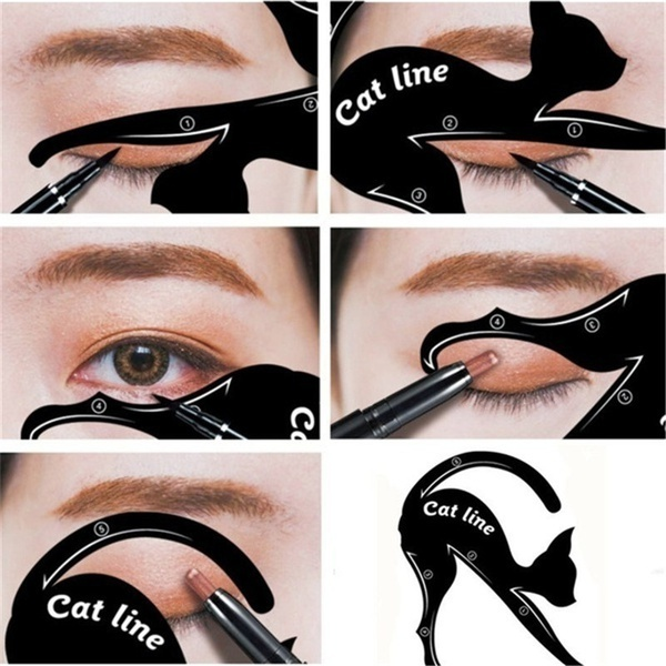 Hot Sale Beauty Eyebrow Mold For Women Cat Line Makeup Tool Black Cat Eyeliner Shaper Cosmetics Tool Wholesale 5