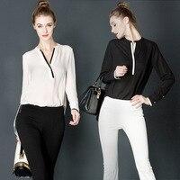 Mulheres Elegante Blusa Branca Com Acessórios Camisas Femininas Senhoras Escritório Desgaste Do Trabalho Camisa de Moda de Nova Tops Manga Longa Mulheres Chiff