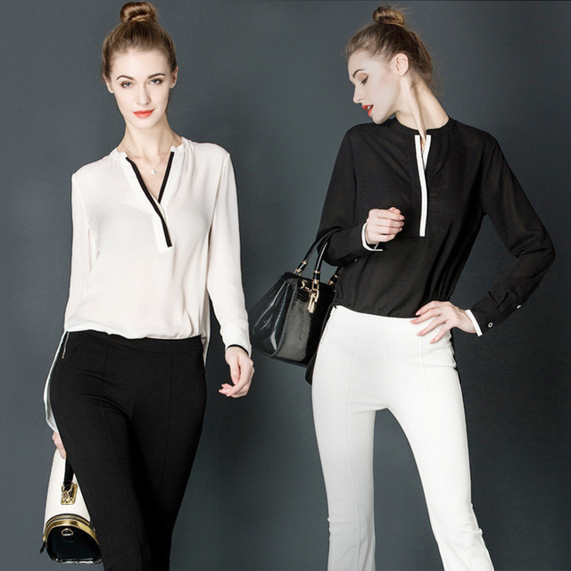 3eeb6414f88adc Women Elegant White Blouse With Accessories Female Shirts Ladies Work Wear  Office Shirt New Fashion Long Sleeve Tops Women Chiff