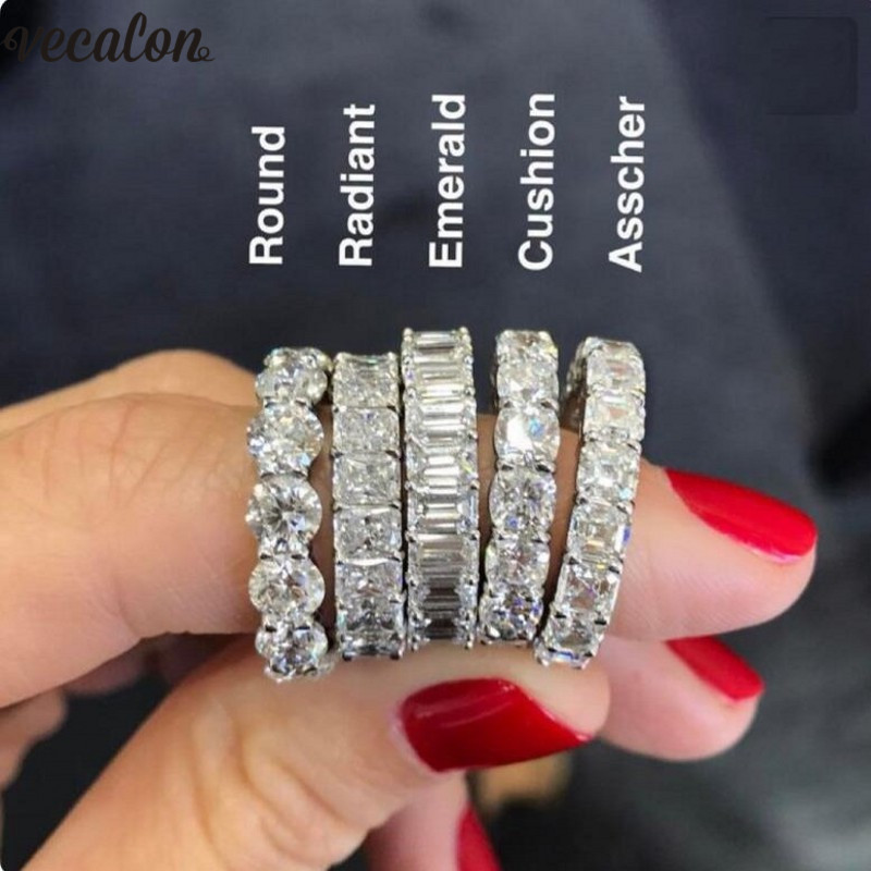 Vecalon 6 Style Eternity Promise Ring AAAAA Zircon Stone 925 Sterling Silver Engagement Wedding Band Rings For Women Men Jewelry