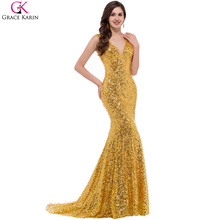 Prom Dresses Grace Karin Blue Red Black Gold Sexy Mermaid Prom Dresses Long 2017 Luxury Sequin Mermaid Long Gold Prom Dresses