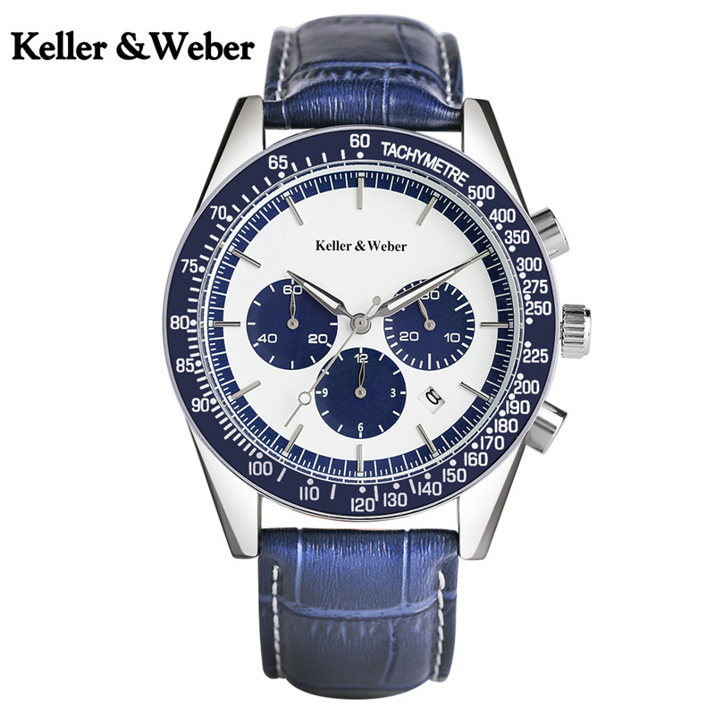 Keller & Weber Brief Men Sport Watch Chronograph Sub Dials Auto Date-day 30M Water Resistant Stop Watches Cool Army Wristwatch business men sport outdoor men water resistance cool genuine leather plaid band strap wrist watch date day army trendy orologio page