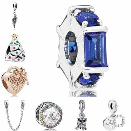 Maxi Statement Jewelry Cute Bell Moon Anchor Pug Dog Crystal Charms Beads Fit Pandora Bracelets Bangles for Women DIY Handmade
