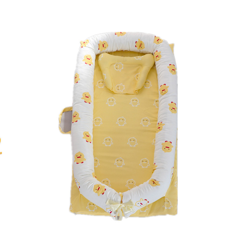 Newborn Baby Nest Removable Crib Soft Infant Cotton Bed Cartoon Portable Cushion Travel Bumpers 0-36 M