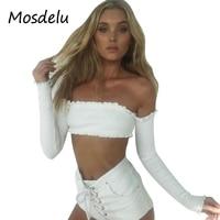 Mosdelu Sexy Off Shoulder Long Sleeve Women Crop Tops Summer Slash Neck Short T Shirt Women