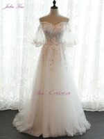 Julia Kui New Style Sweetheart A Line Lace Up Wedding Dress Half Sleeve Beading Sequined Appliques